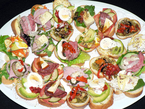 Open Sandwiches on French Bread